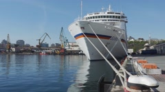 Stock Video Footage of White cruise liner Europa docked in port at the passengers terminal