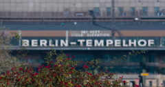 Berlin-Tempelhof Airport Building focus shift Stock Footage