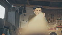 Old carpenter, blank checks for the manufacture of wood handmade Stock Footage