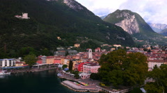 Aerial view of the Italian lakeside town Riva Lake Guarda Italy - stock footage