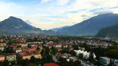 Aerial view of Riva town Lake Guarda Verona Italy Stock Footage