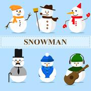Winter christmas snowman emotions set Stock Illustration