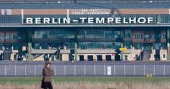 Berlin-Tempelhof Airport Building Pedestrian Stock Footage