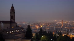 Historic italian town bologna illuminated at night Stock Footage