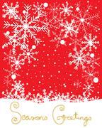 snowflake on red - stock illustration