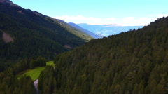 Aerial view Alpine forest valley Italian Dolomites Italy Stock Footage