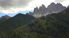 Aerial view of Alto Adige Peaks Dolomites Alps Italy Stock Footage