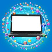 Laptop with blank screen on blue - stock illustration