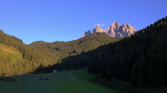 Aerial view St Johann chapel Alto Adige Dolomites Italy Stock Footage