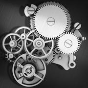 Grey metal cog gears joining together - stock illustration