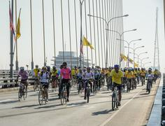 Unidentified Thai cyclists at Fly & Bike Thailand event in Bangkok, Thailand - stock photo