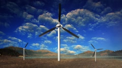 Three Windmill Generators Spinning with Clouds Moving in the Background - stock footage