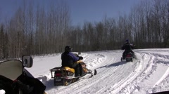 Snowmobiling in northern ontario canada Stock Footage