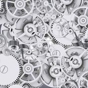 Grey metal cog gears - stock illustration