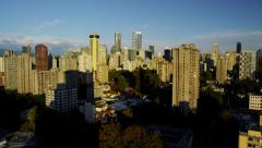 Vancouver skyline view of city skyscrapers and residential living - stock footage