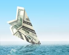 Stock Illustration of Bankruptcy business. Money plane wreck