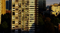 View of city skyscraper apartments for urban residential living Stock Footage