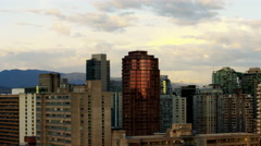 Vancouver skyline sunset view of city skyscrapers and residential living - stock footage