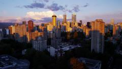 Skyline sunset view of city buildings in Vancouver Canada - stock footage