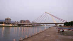Time lapse view of Dazhi bridge at sunset, become darker. Stock Footage