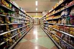 CARTAGENA - SEPTEMBER 12TH: The interior of Cartagena's supermarket on Septem Stock Photos