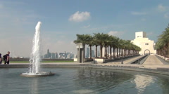 Fountain at Museum of Islamic Art, Corniche Stock Footage