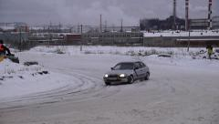 Car fast rides on the race track Stock Footage