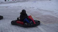 Race karting in tight corners Stock Footage