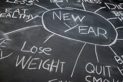 New year resolution planning on a blackboard, lose weight - stock photo