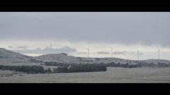Wind turbines generating clean, green energy  - Wide 3 - stock footage