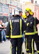 LONDON - APRIL 9TH: The fire brigade attend an emergency in Tottenham on Apri - stock photo