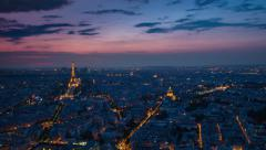 Paris skyline cityscape aerial timelapse day to night pan Stock Footage