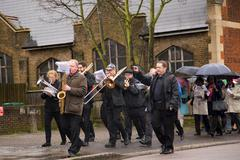 LONDON - MARCH 29TH: Unidentified band at a palm sunday procession on March t - stock photo