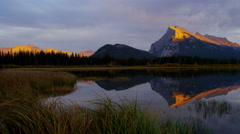 Sunset picturesque lake view Canadian Rockies Banff National Park - stock footage