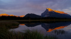 View in autumn of mountain lake in the Fall Banff Canada - stock footage