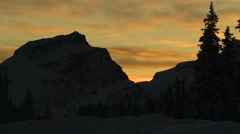 Stock Video Footage of Alberta, Athabasca,  Forrest-Mountain Sunset Time-Lapse