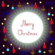 Stock Illustration of Merry Christmas postcard with round frame and Christmas things around it