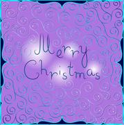 Stock Illustration of Merry Christmas postcard with east pattern