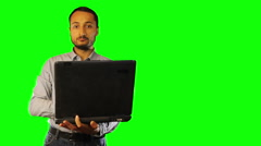 Man working on the old computer  Green Screen Stock Footage