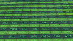 Stock Video Footage of Computer generated shot of financial markets summary table with real time data