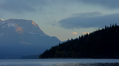 Scenic Fall view of Waterton lake National Park Canada Stock Footage