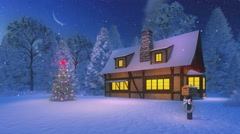 Illuminated christmas tree and rustic house at night Stock Footage