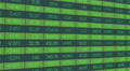 Information about securities market deals updating on large electronic display 4k or 4k+ Resolution