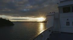 Ocean view seen through the railing of an arctic cruise ship. Slow Motion Stock Footage