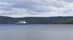 Arctic cruise ship  anchored in Nain, Newfoundland and Labrador. Stock Footage