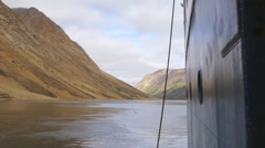 Anchored cruise ship in Torngat Mountains. Stock Footage