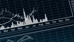 Curves going up and down on chart, presentation of annual financial statement Stock Footage
