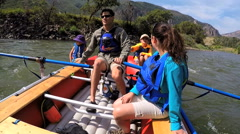 Caucasian family having fun together rafting on Colorado River outdoor - stock footage