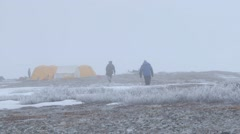 An arctic expedition team campsite. Pan Stock Footage