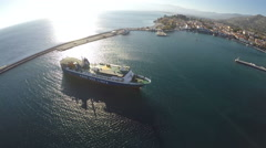 Ship at the Port of Pythagorio in Samos Island Stock Footage